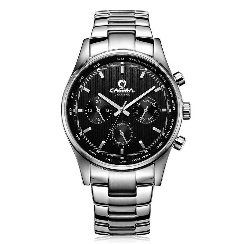 New CSM Luxury Silver Steel Men's Business Casual Watch with Precise Time Movement