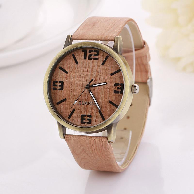 Vintage Watch for Women with Wood Grain Style Analog Display and Genuine Leather Strap
