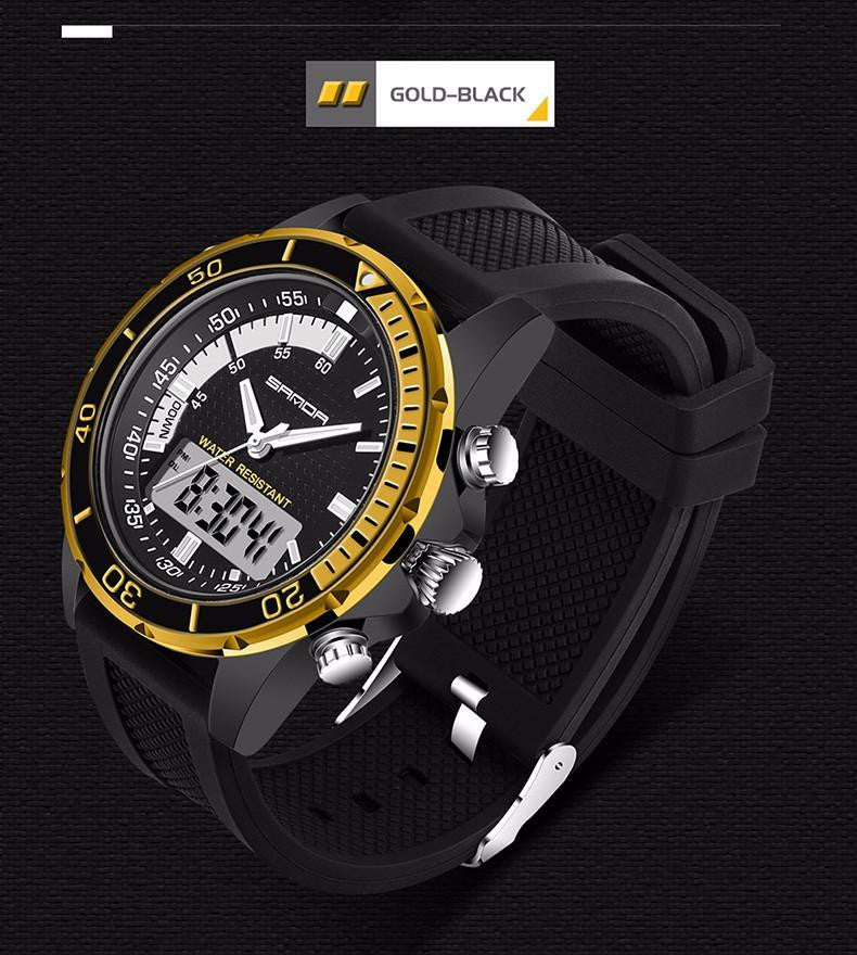 Full Steel Case SANDA Men's Sports Watch with Precise Analog and Digital Display