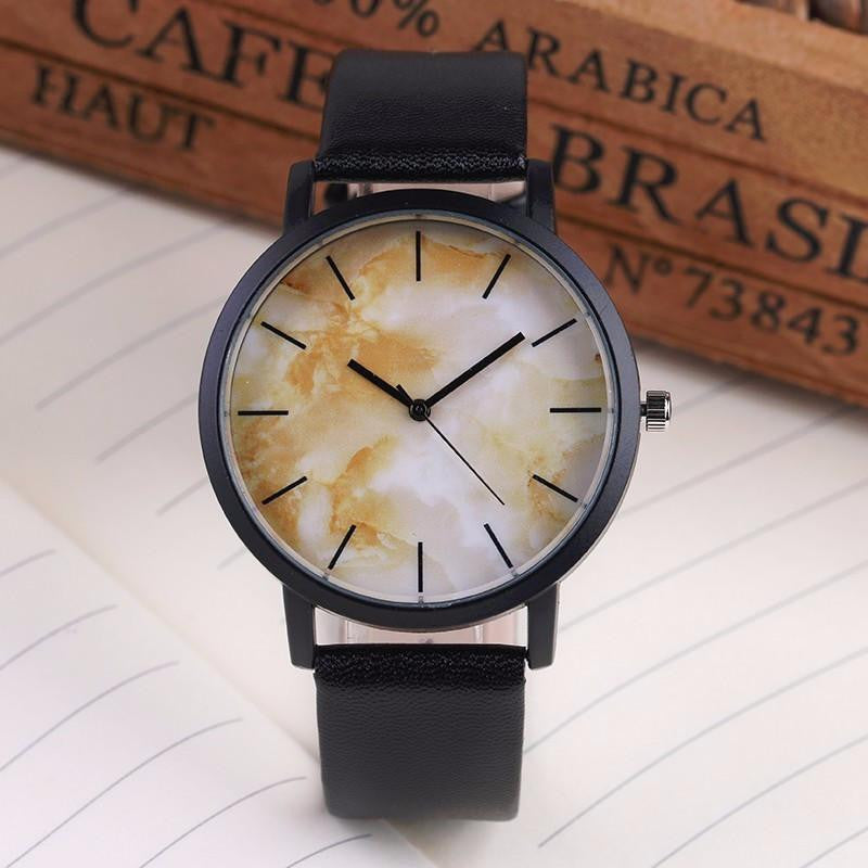 British Style Marble Watch for Men and Women with Analog Display and Genuine Leather Strap