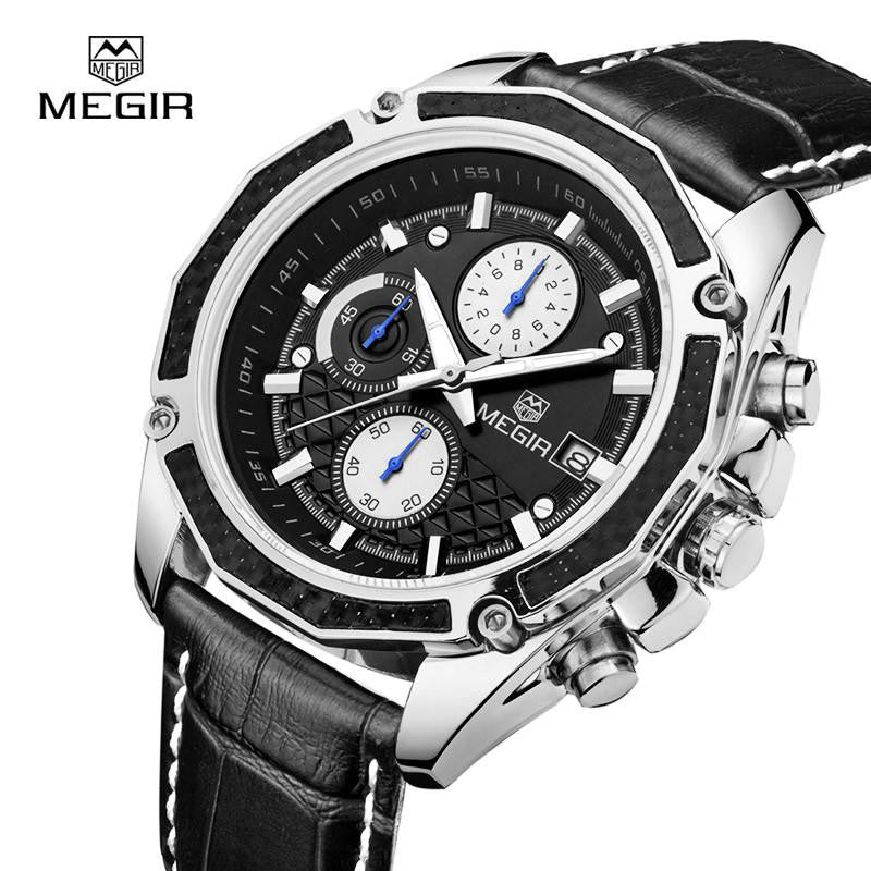 MEGIR Luxury Watch for Men with Analog Display and Genuine Leather Strap