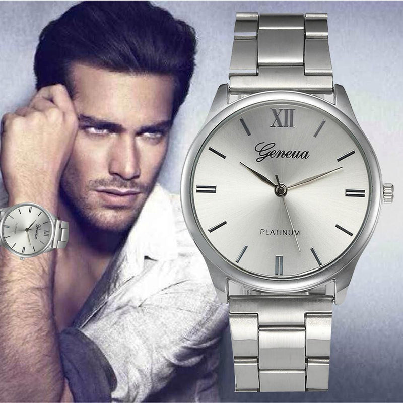 Authentic GENEVA Watch with Full Silver-Steel Case and Precise Analog Display for Men