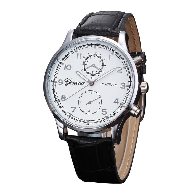 Exquisite Retro-Fashion GENEVA Watch for Men with Analog Display and Genuine Leather Strap