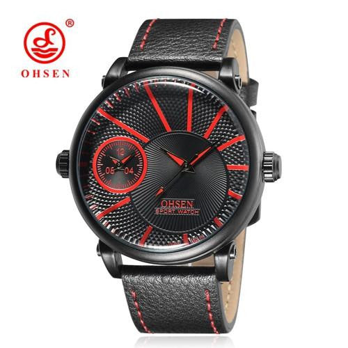 Famous Business and Military style Watch for Men with Leather Strap