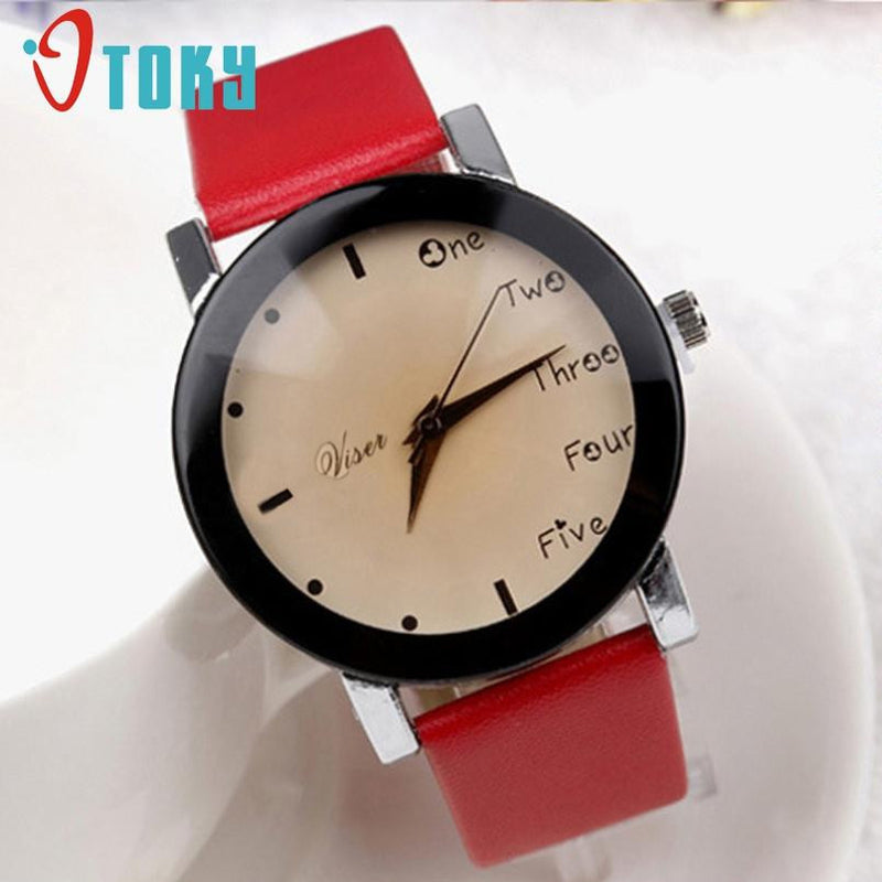 Exquisite Eye Watching Watch for Women with Genuine Leather Strap and Analog Display