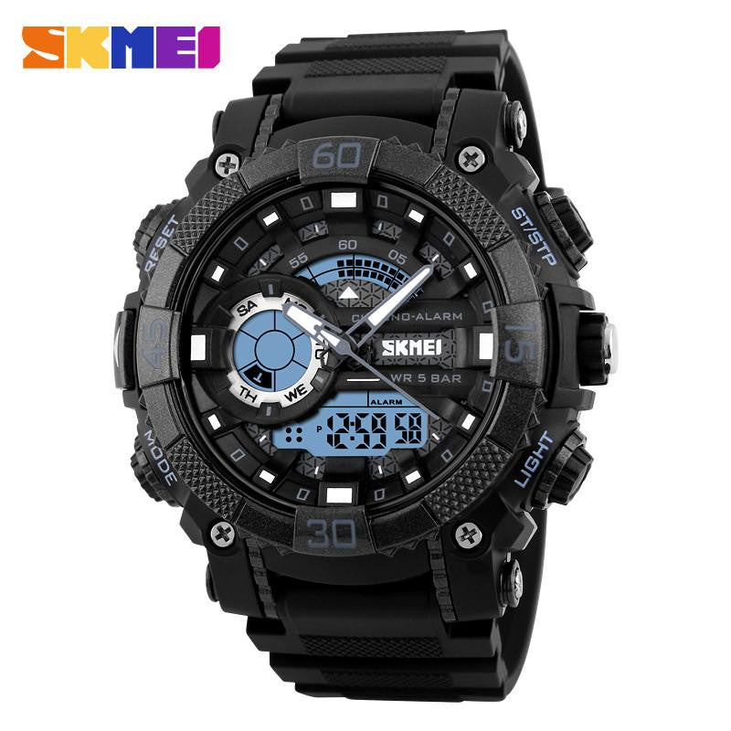 Cool Masculine Watch for Men with Dual Analog and Digital Display and Premium Rubber Strap