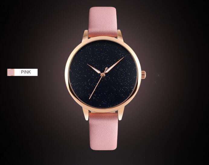 Elegant Fashion Casual Womens Watch with Precise Analog Display and Genuine Leather Strap