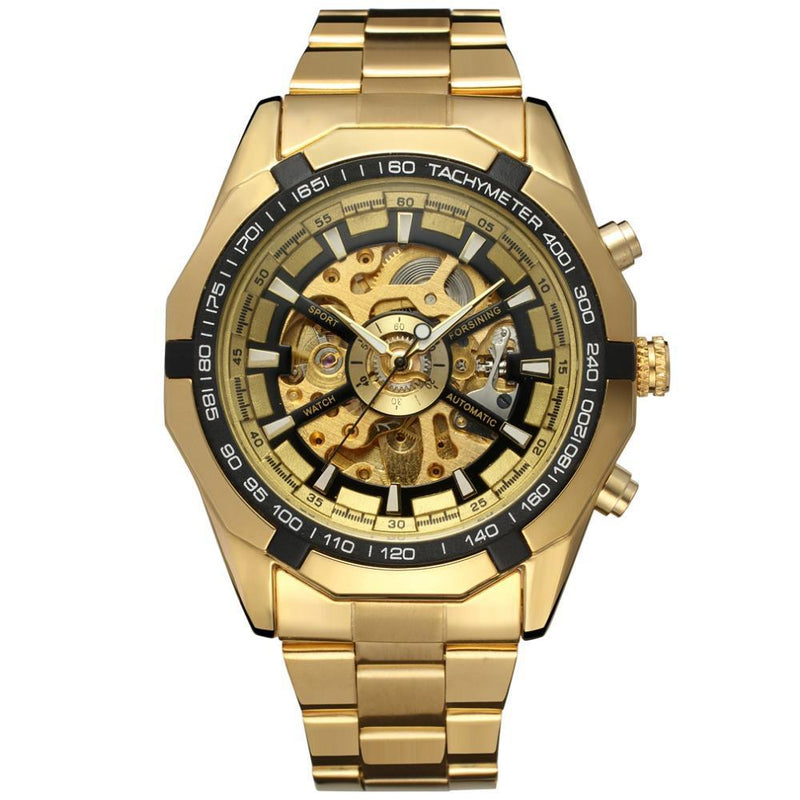 New Luxury Brand Golden Stainless Steel Mechanical Watch for Men