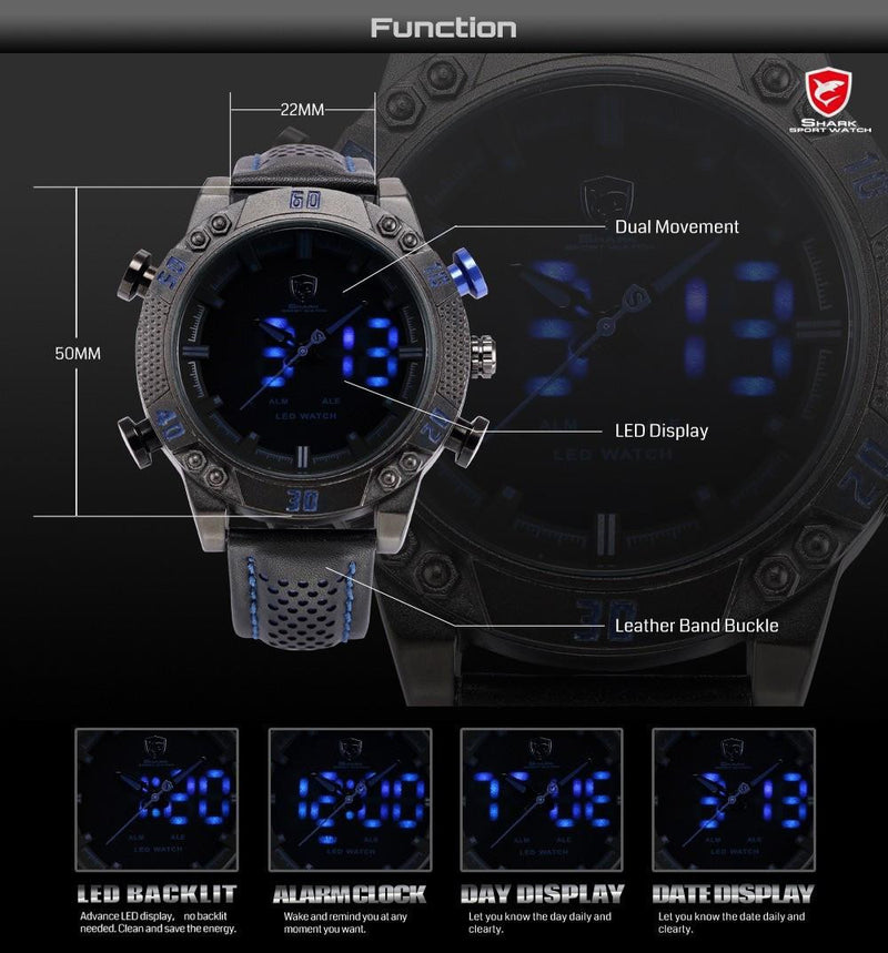 Luxurious Kitefin SHARK Watch for Men with Dual Digital and Analog Display and Cool Leather Strap