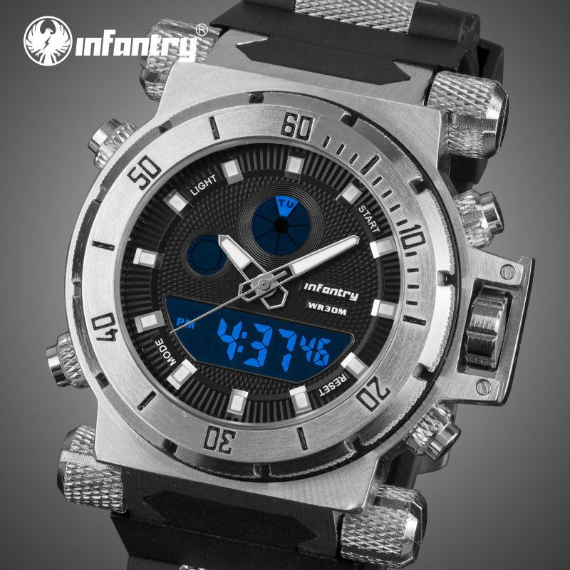 Men's Army Tough Infantry LED Dual Display Watch