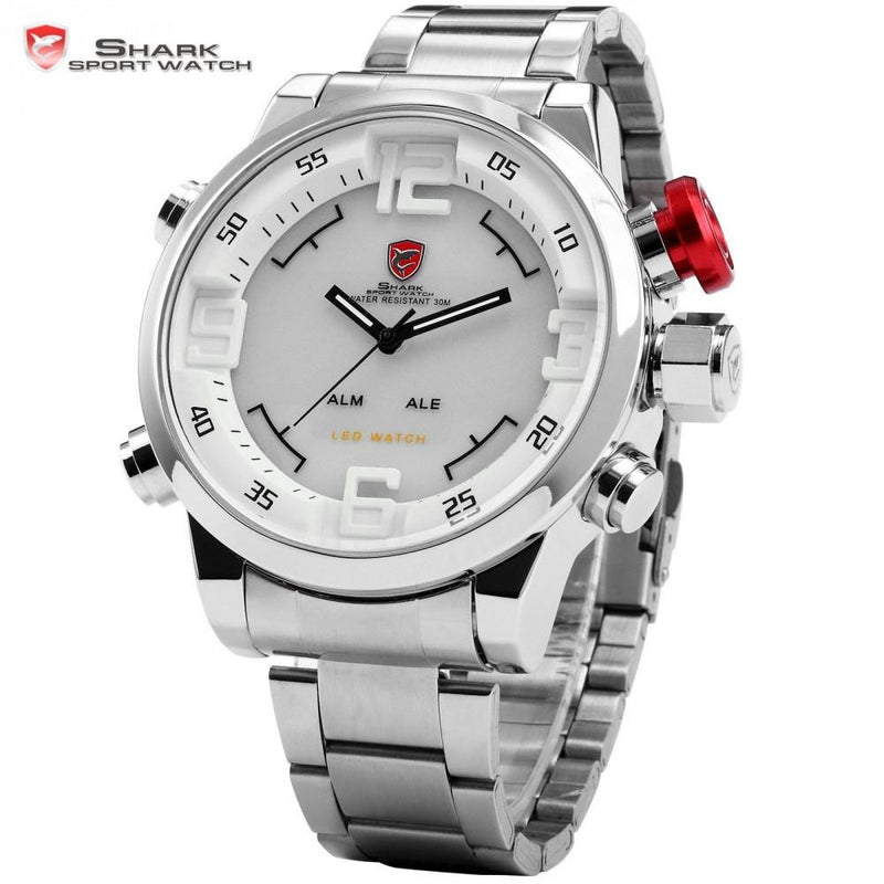 Authentic Chrome Full Steel Men's Sports Watch with Precise Analog and Digital Display