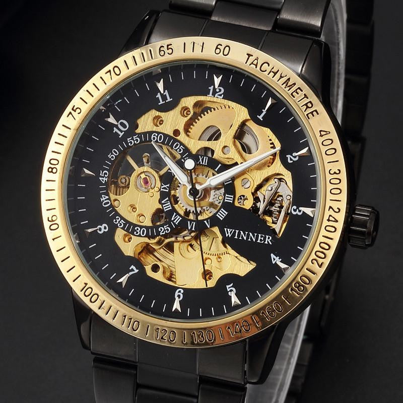 Luxurious Skeleton Dial Watch with Automatic Analog Display and Stainless Steel Strap