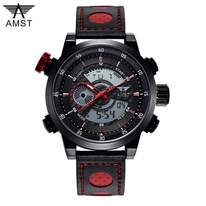 AMST 3ATM LED Genuine Leather Men's Sport Watch Military - Gogobomo Gear