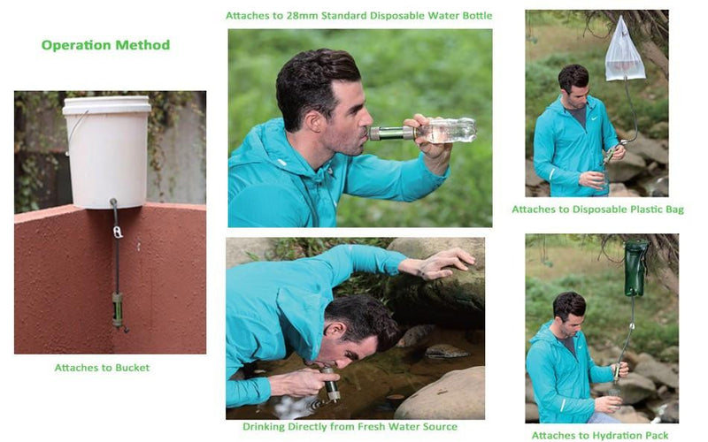 Outdoor Emergency Water Filter System with 2000 Liters filtration capacity for Camping, Hiking, and Survival