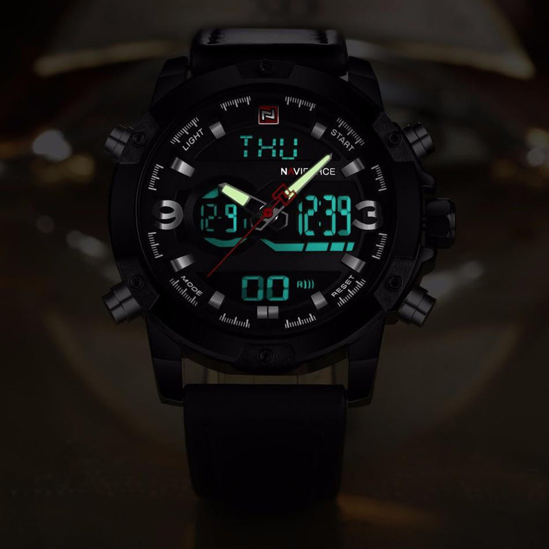 Modern Style Military Watch for Men with Dual Analog and Digital Display and Genuine Leather Strap
