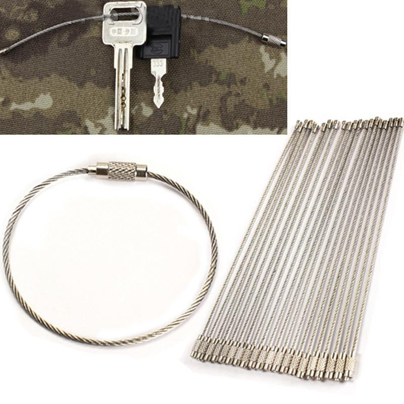 20PC Outdoor Camping EDC Gear Multifunctional Wire Rope Stainless Steel Key Ring