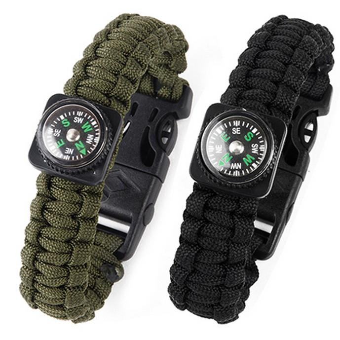 Paracord Rope Survival Bracelet with Gear Scraper Compass Flint Fire Starter Whistle