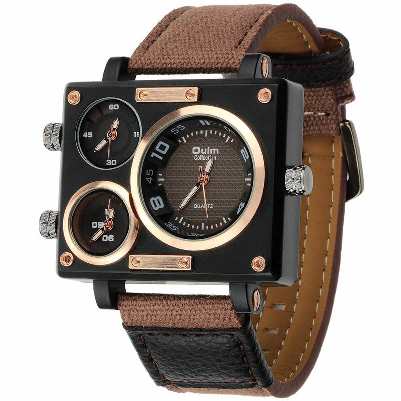 Luxury Brand Oulm Rectangular Case Casual Watch with Three Time Zone Display