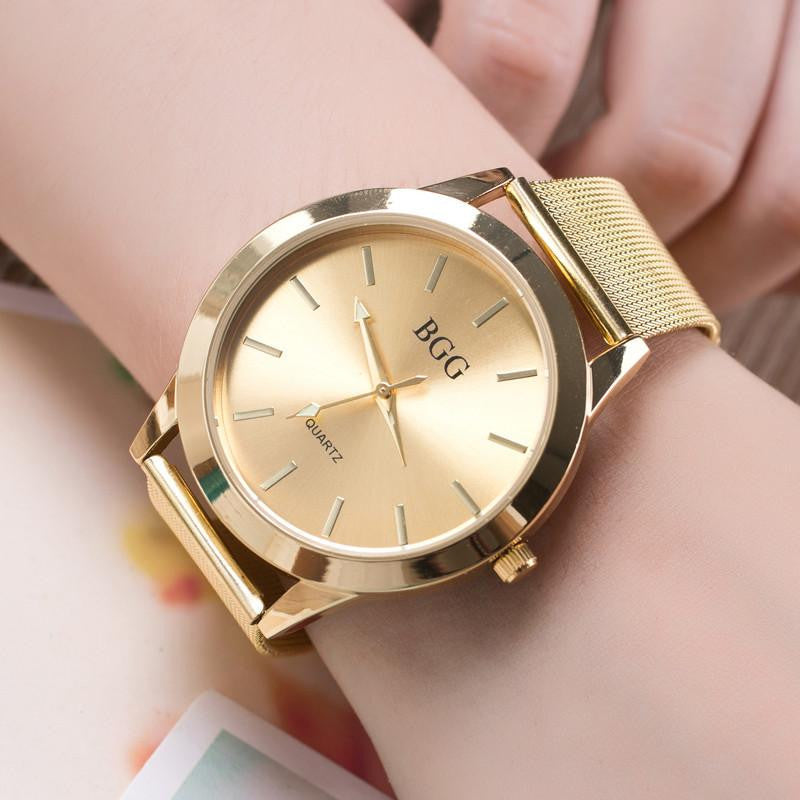 Luxury Feminine Watch with Super Slim Stainless Steel Mesh Band