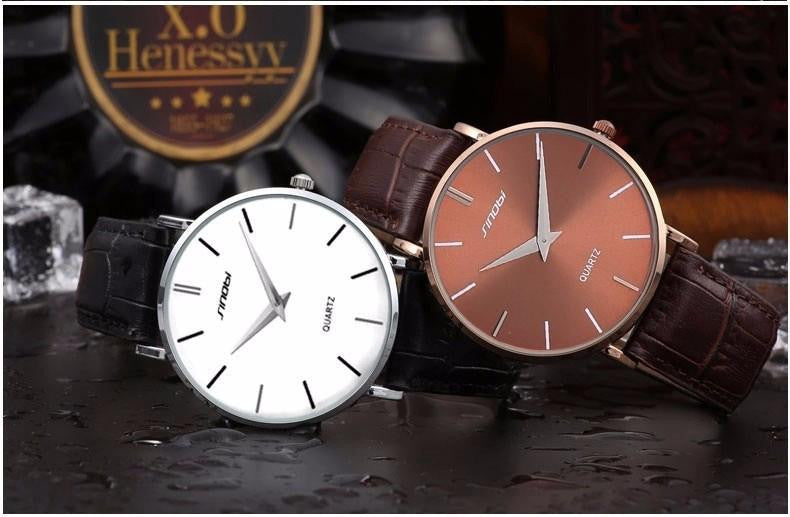 New Super Slim SINOBI Watch for Men with Analog Display and Genuine Leather Strap