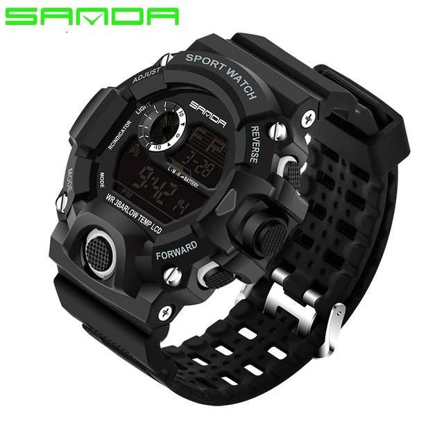 Sophisticated SANDA Watch for Men with Digital Display and Genuine Rubber Strap