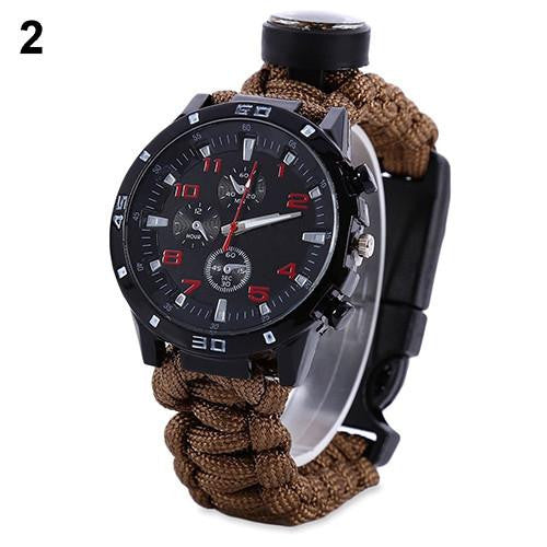 Multifuctional Survival Bracelet ,with Thermometer,Flint Fire Starter and Gear Watch