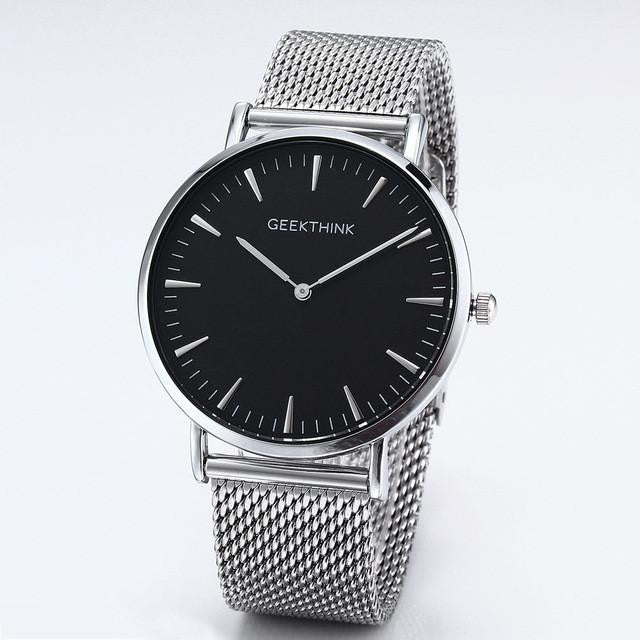 Luxury GEEKTHINK Watch for Men with IPS Stainless Steel Strap