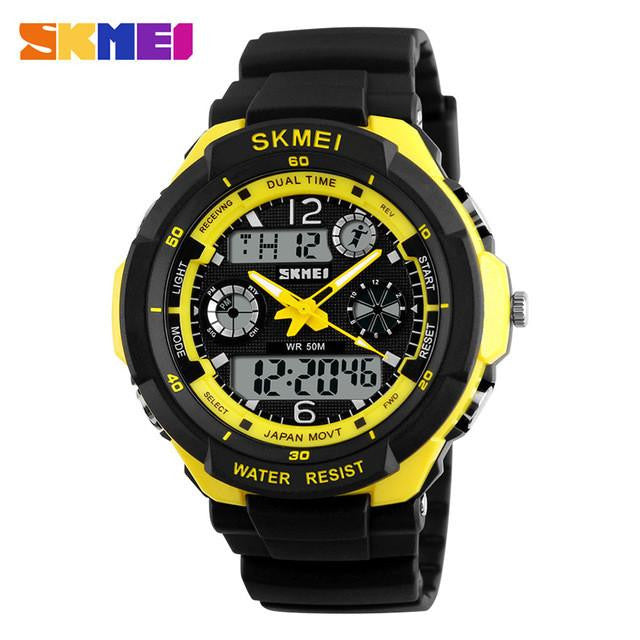 Masculine Watch for Men with Dual Analog and Digital Display Premium Rubber Strap