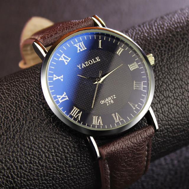 Luxurious YAZOLE Men's Watch with Analog Display and Genuine Leather Strap