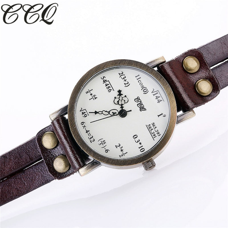 Vintage Fashion CCQ Ladies Creative Mathimatical Equation Design with Soft Leather Strap