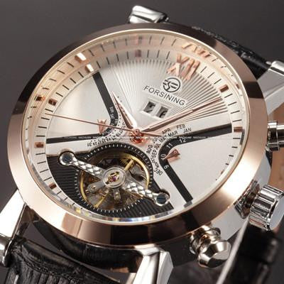 Exquisite FORSINING Men's Classic Casual Watch with Tourbillon Mechanics