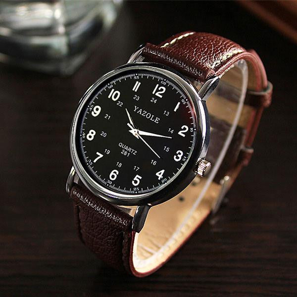 Sophisticated YAZOLE Watch for Men with Analog Display and Genuine Leather Strap