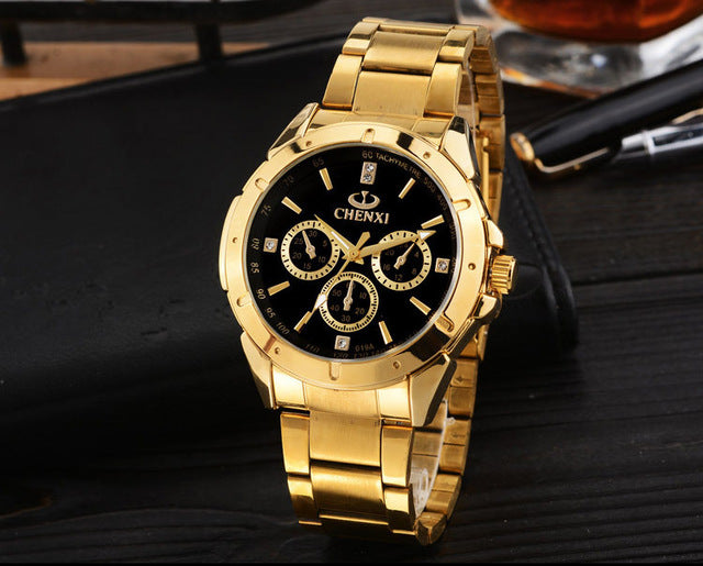 Original CHENXI Unisex Gold Watch with Precise Analog Display