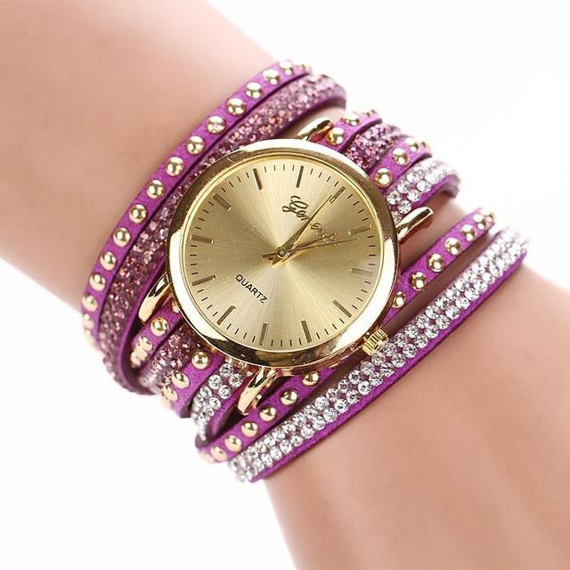 Elegant GENEVA Watch Embellished with Rhinestones for Women with Analog Display