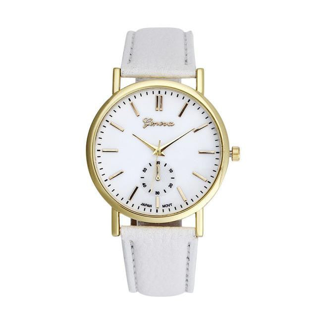 Exquisite GENEVA Watch for Women with Analog Display and Genuine Leather Strap