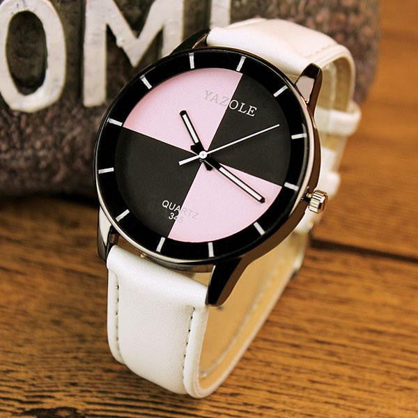 Fancy YAZOLE Watch for Women with Analog Display and Genuine Leather Strap