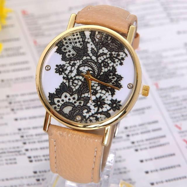 Vintage GENEVA Lacework Design Watch for Women with Genuine Leather Strap