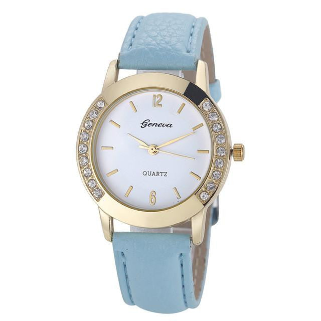 Sophisticated GENEVA Watch for Women with Analog Display and Genuine Leather Strap