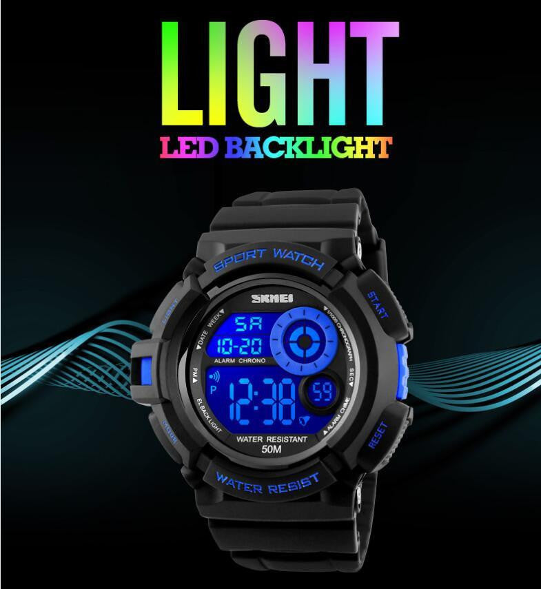 Luxury brand SKM Mens Military Sports Watch with Bright LED Digital Display