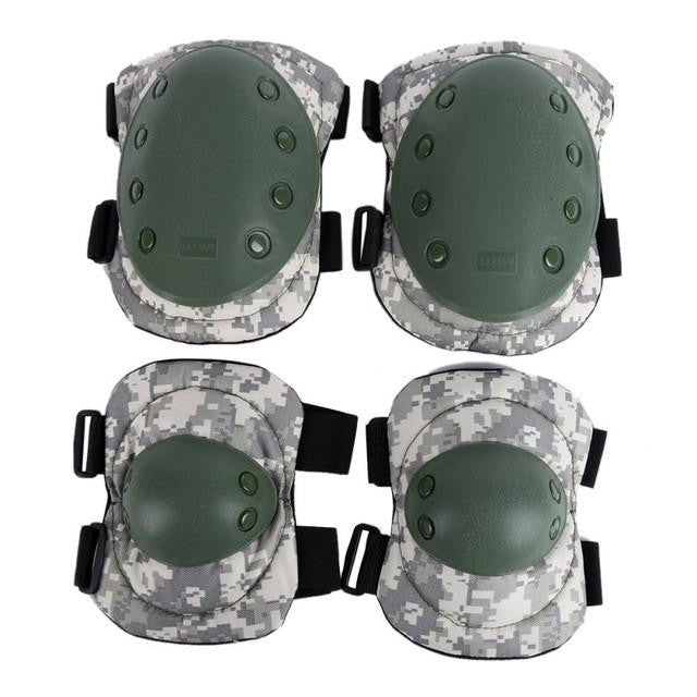 4 Knee Elbow Protective Pad Protector Gear Sports Tactical Military Army Green Black Camo