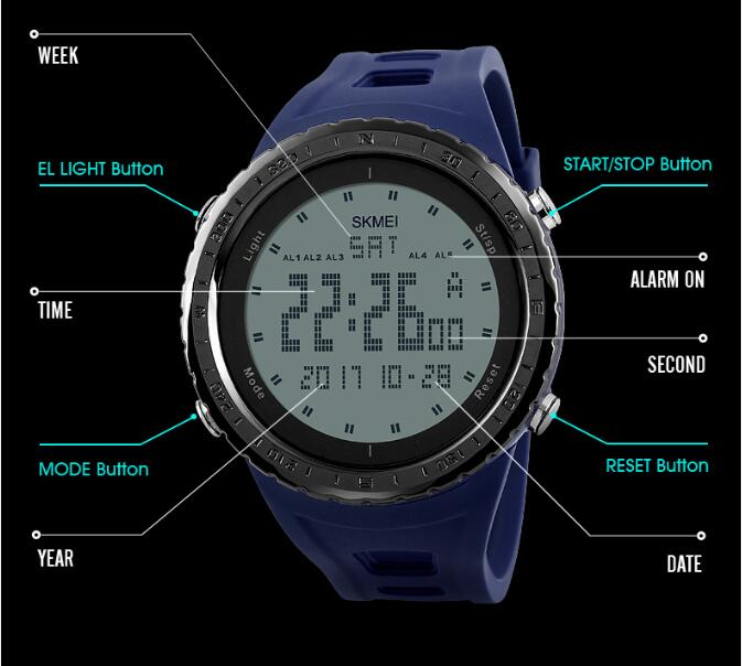New Skmei Tactical Sports Design Men's watch with EL Light Digital Time Display