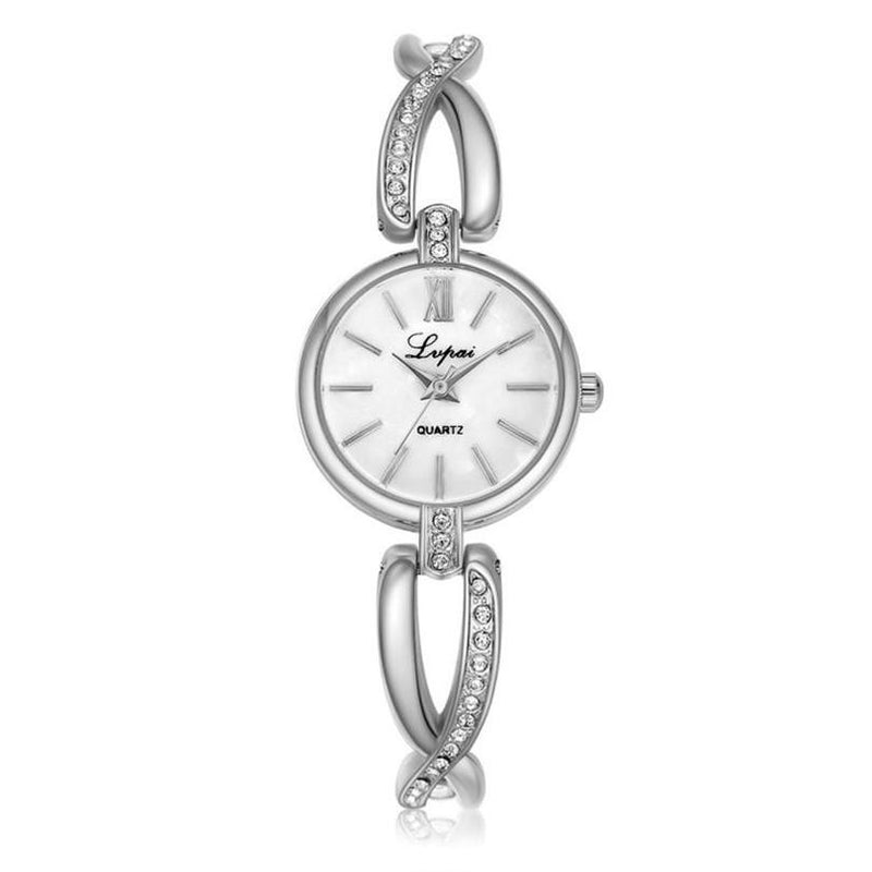 Elegant Bracelet Watch for Women with Analog Display and Stainless Steel Strap Embellished with Gems