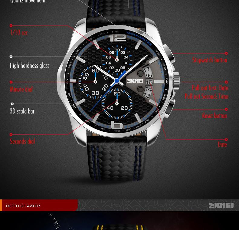 New Luxury Watch for Men with Analog Display and Genuine Leather Strap