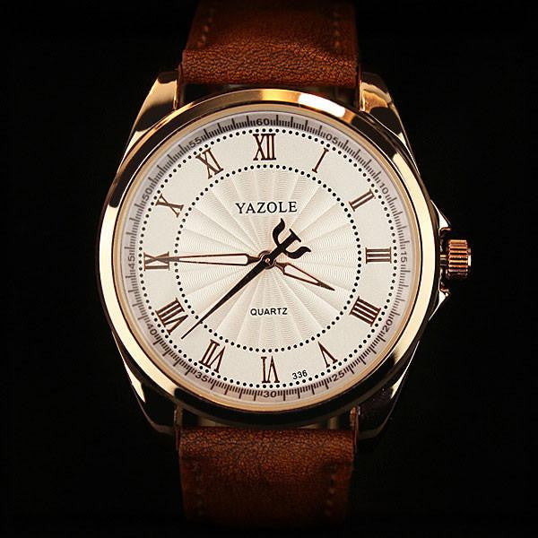 Edgy YAZOLE Watch for Men with Premium Leather Strap