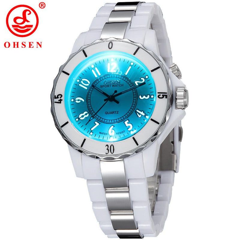 Luxury OHSEN Watch for Women with Multi-Color LED Analog Display