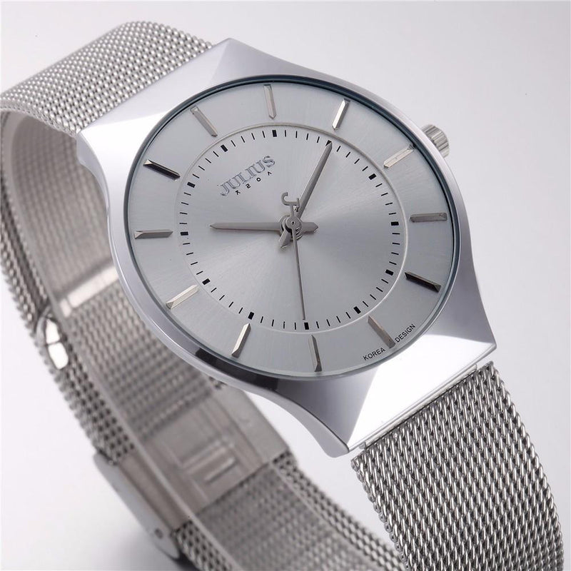 All Slim Fashion Julius Unisex Silver Steel Watch with Elegant Time Display