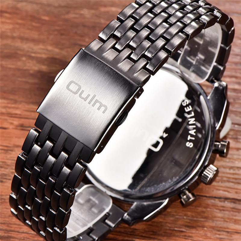 Luxury Brand Oulm Men's Classic Steel Watch with Oversized Analog Dispay Case