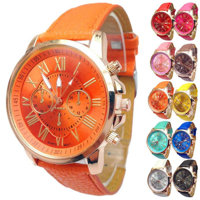 Fashionable Geneva Watch for Men with Durable Leather Strap and Analog Display