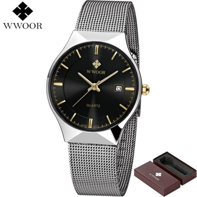 New Ultra Thin WWOOR Men's Business Casual Full Steel Watch with 50M Water Resistant