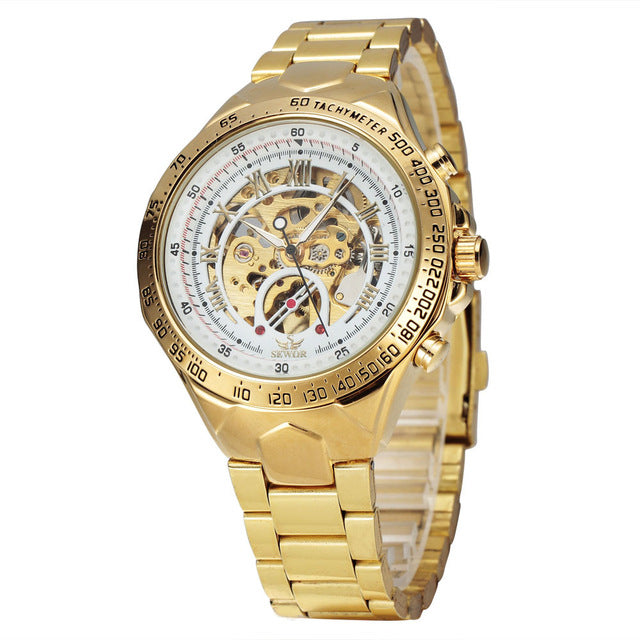 Men's Steel Watch Mechanical Self Wind Wrist Clock Watches Stylish Design Classic Skeleton Watch